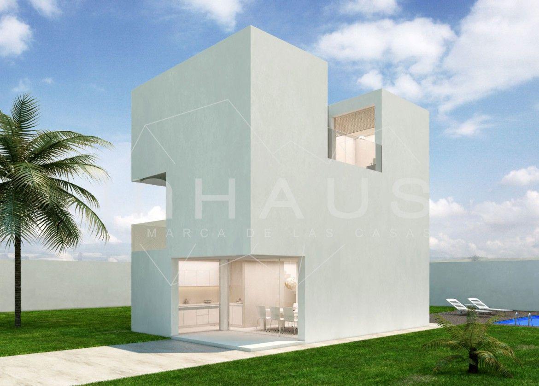 Casa de dise o minimalista de tres plantas con salon doble altura y acabado blanco u hormig n - Spa tres casas ...