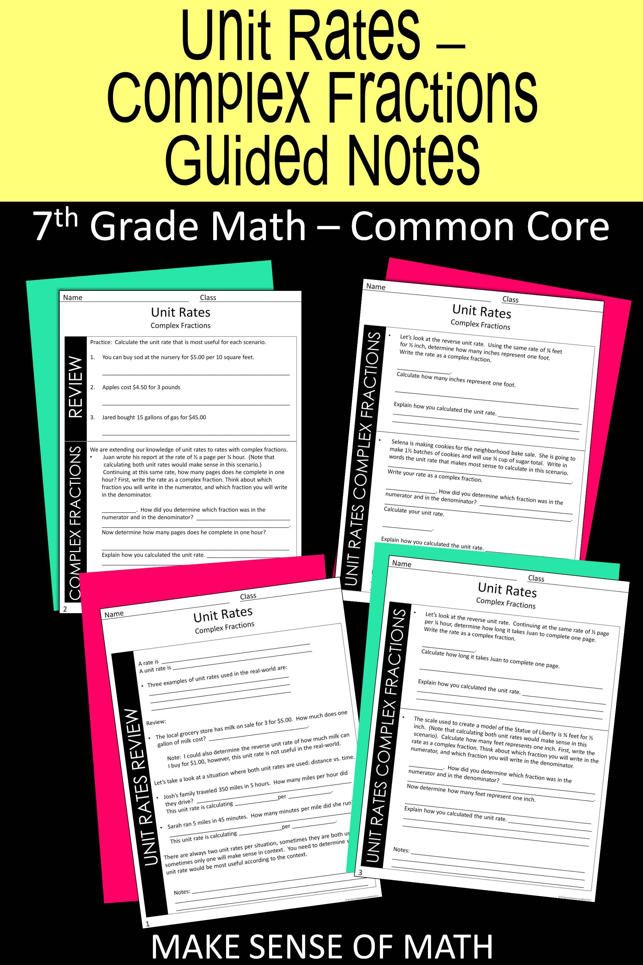 Unit Rates Guided Notes With Complex Fractions
