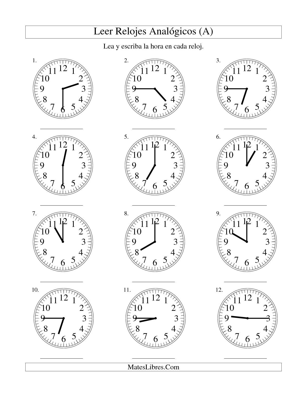 Worksheets La Hora Worksheet la leer hora en un reloj intervalos de 15 minutos a a