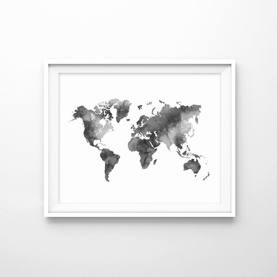 World Map Print Black And White Watercolor Prints Morden Art