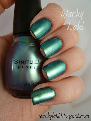 Sinful Colors - Let Me Go (lavender-green duochrome) over black - the lavender disappears!   Wacky Laki