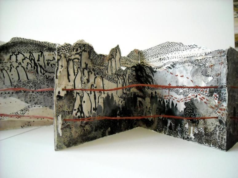 The Border Crossed Me - Migrants by Monique Janssen-Belitz. Inside view: watercolor, crayon, acrylic ink, raffia, 2010
