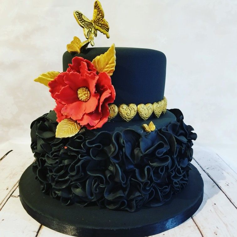 Pleasing Black Gold And Red Flowered Birthday Cake Butterflies Ruffles Funny Birthday Cards Online Inifodamsfinfo