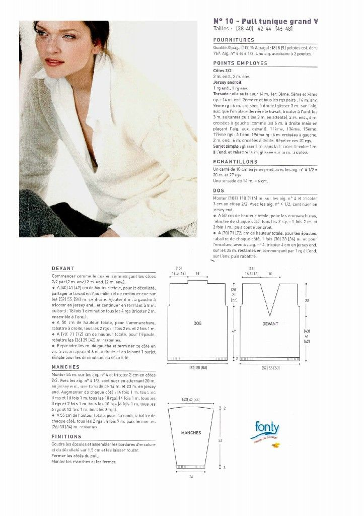 a278965583bde patron tricot pull col v femme Learn How To Knit, Knitting Projects, V Neck