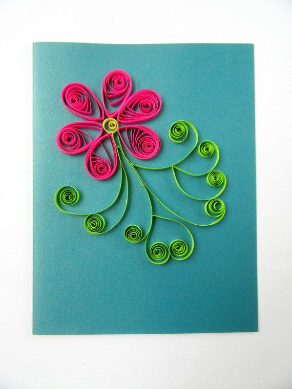 Paper Quilled Flower Card Blue Blank Card by MaritimeHandcrafts