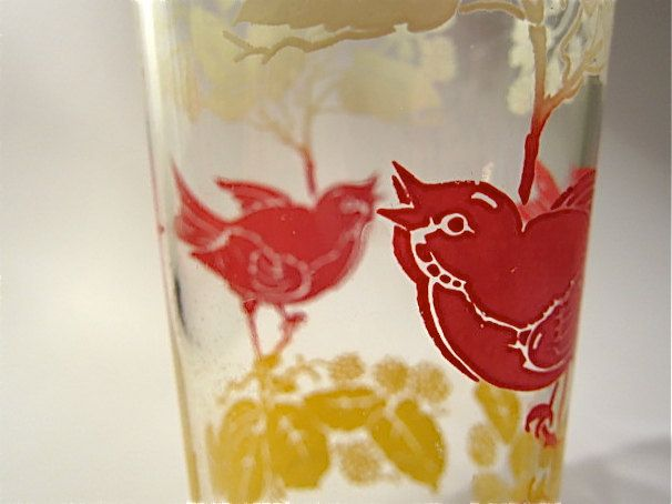 Red bird vintage home decor