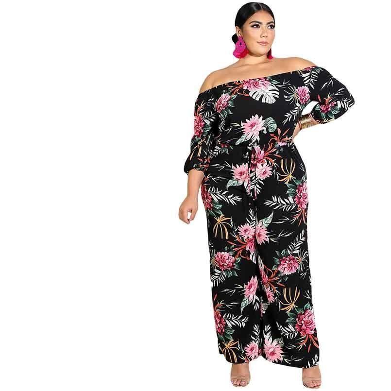 7fb09ebf2c427 Plus Size Off Shoulder Floral Jumpsuit – Curvy Fashion Queen