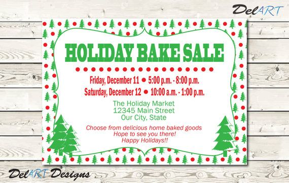 Holiday Business Flyer, Home Party Invitation, Christmas Bake Sale
