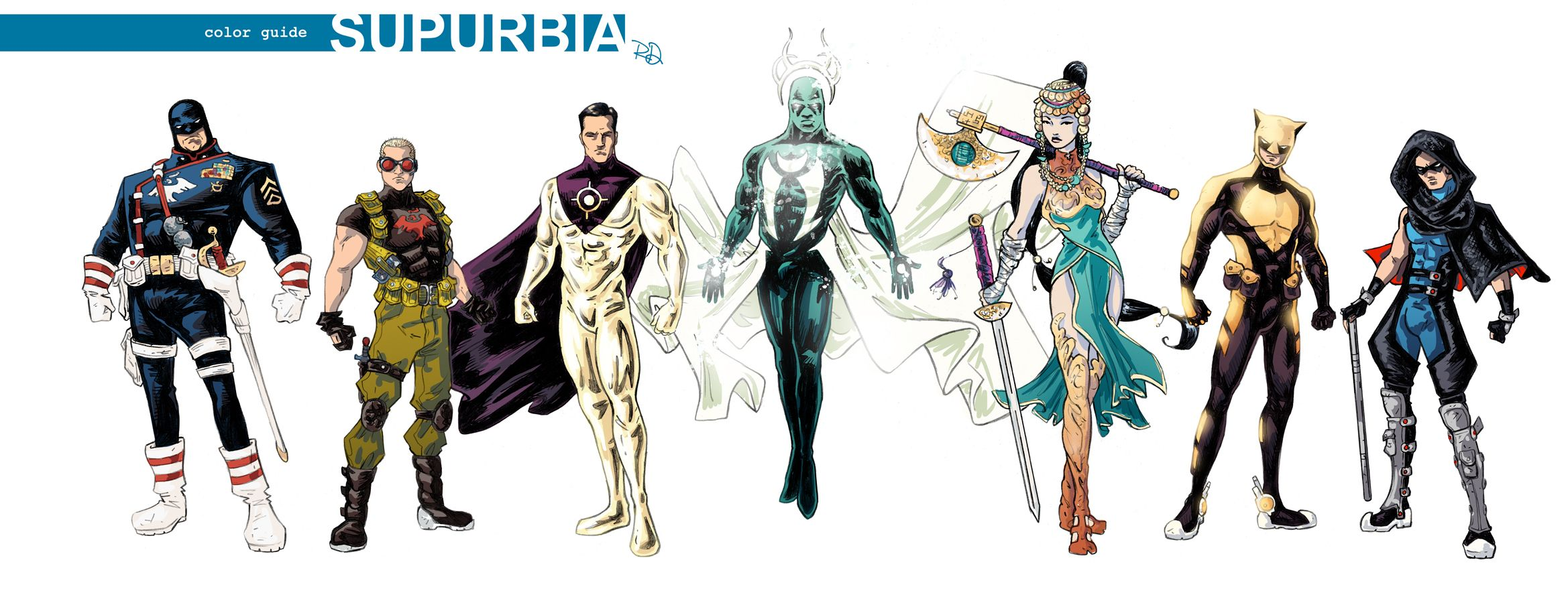 Superhero Character Design Ideas : Supurbia character designs superhero color guide v g
