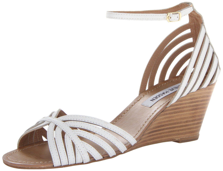 743fbdd5c42ca Amazon.com: Steve Madden Women's Lexii Wedge Sandal, White Leather ...