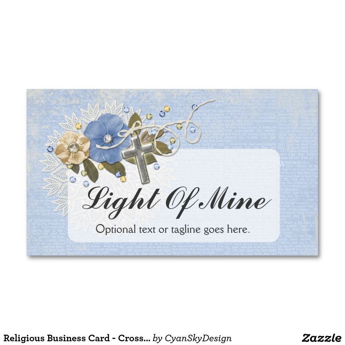 Religious Business Card - Cross & Flowers - #businesscard ...