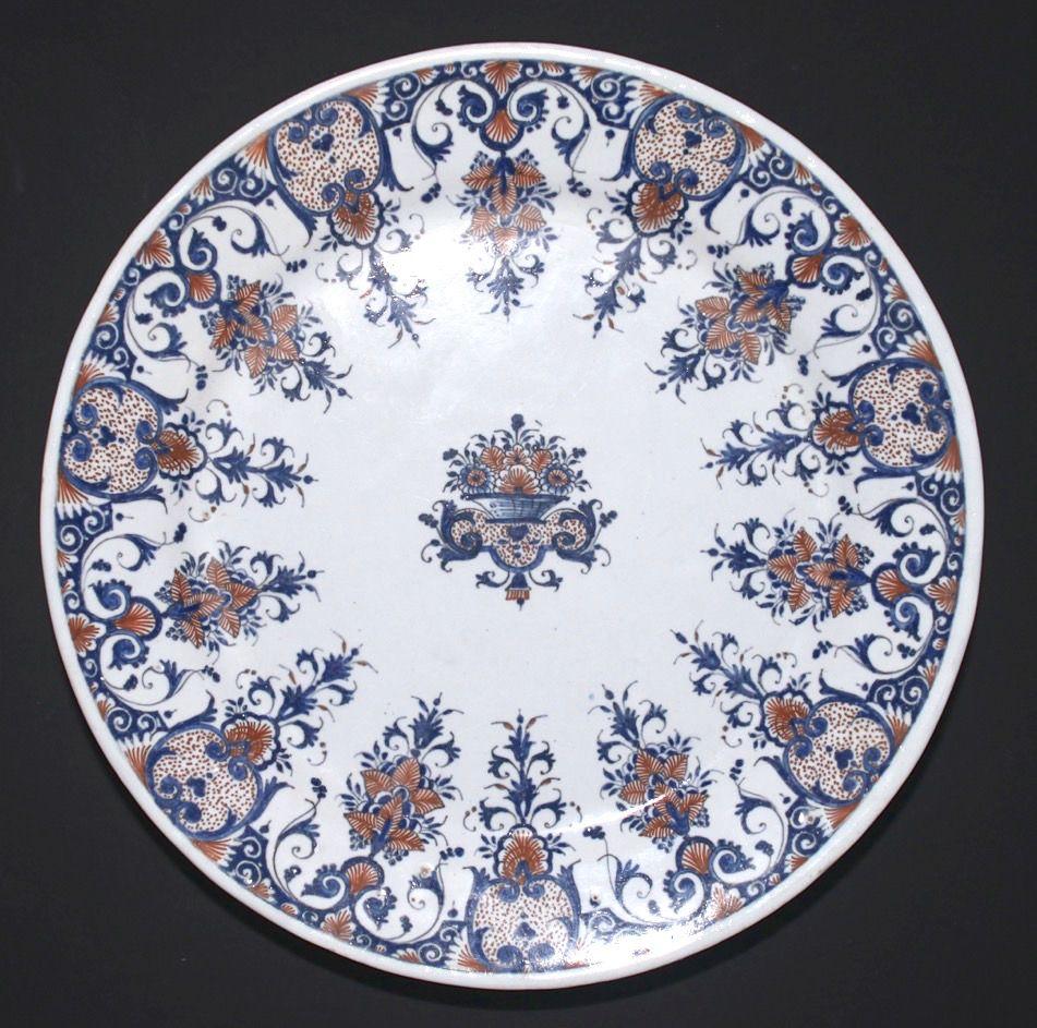 assiette a decor rayonnant vers 1700 1720 assiette en. Black Bedroom Furniture Sets. Home Design Ideas