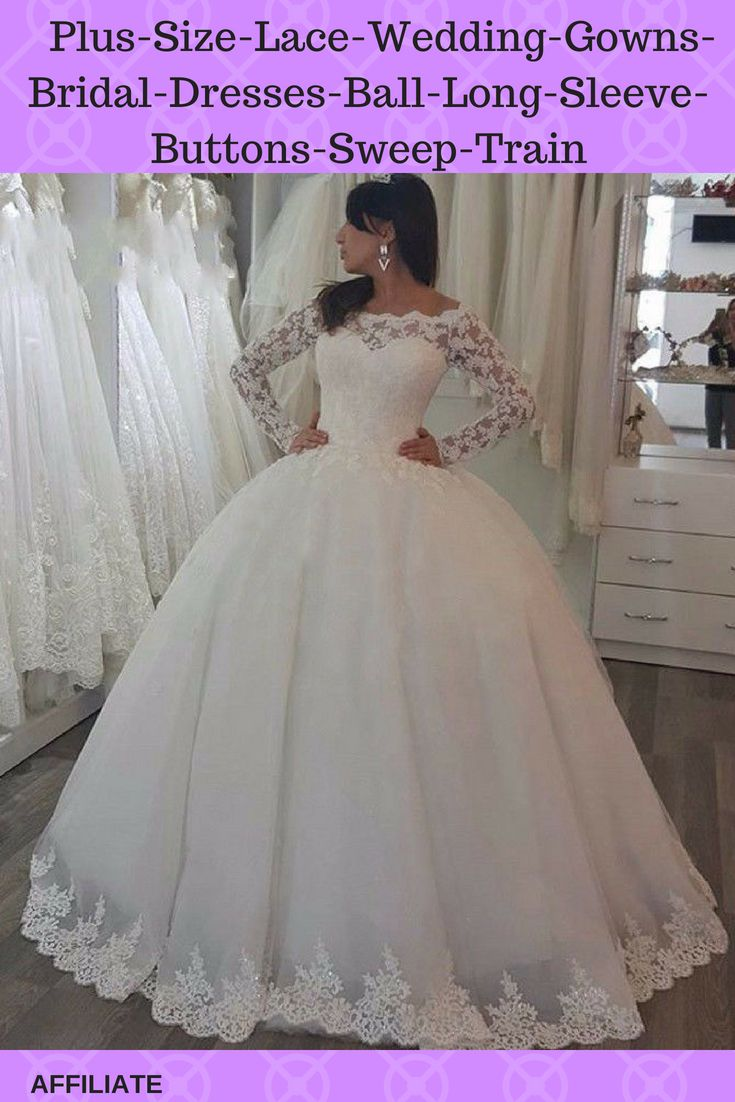 Plus size lace wedding gowns bridal dresses ball long sleeve buttons