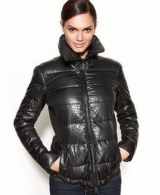 Kenneth Cole Reaction Coat, Printed Quilted Puffer