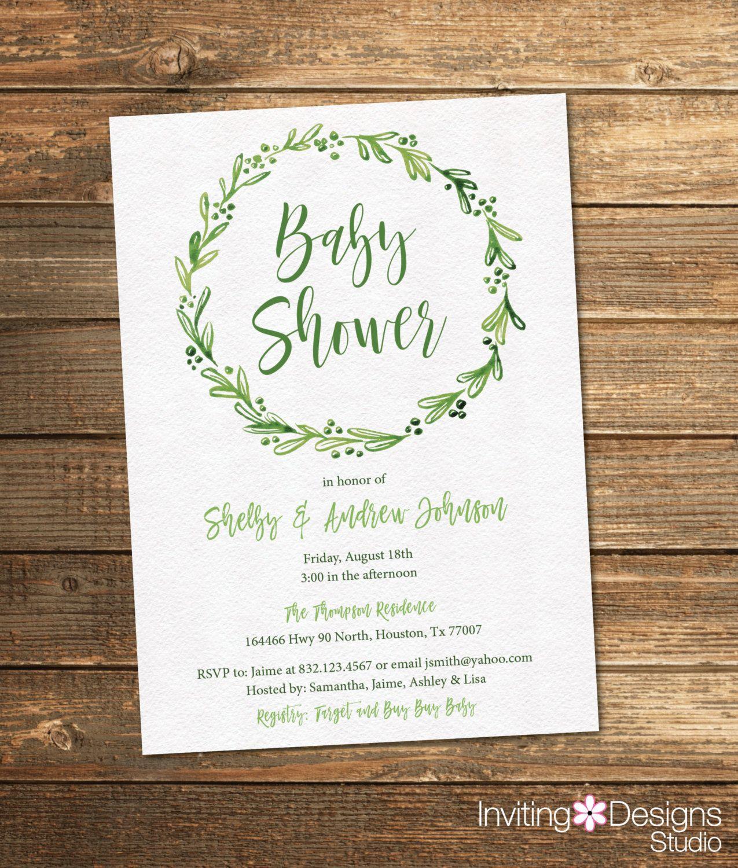 Greenery Baby Shower Invitation, Baby Shower Invitation, Neutral ...