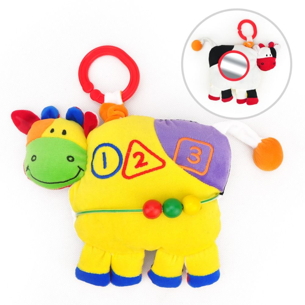 Car hanging soft toys  candice guo multifunctional two sides colorful cattle cow rattle