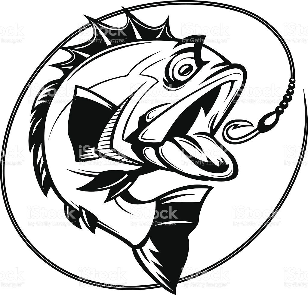 cartoon illustration of a bass chasing a hook Рыбный