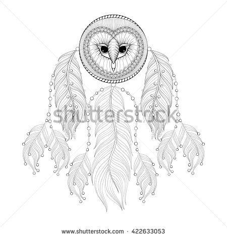 Hand Drawn Zentangle Dreamcatcher With Tribal Owl Face For Adult Coloring Pages Post Card