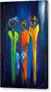Women Selling Fish Canvas Print by Marietjie Henning