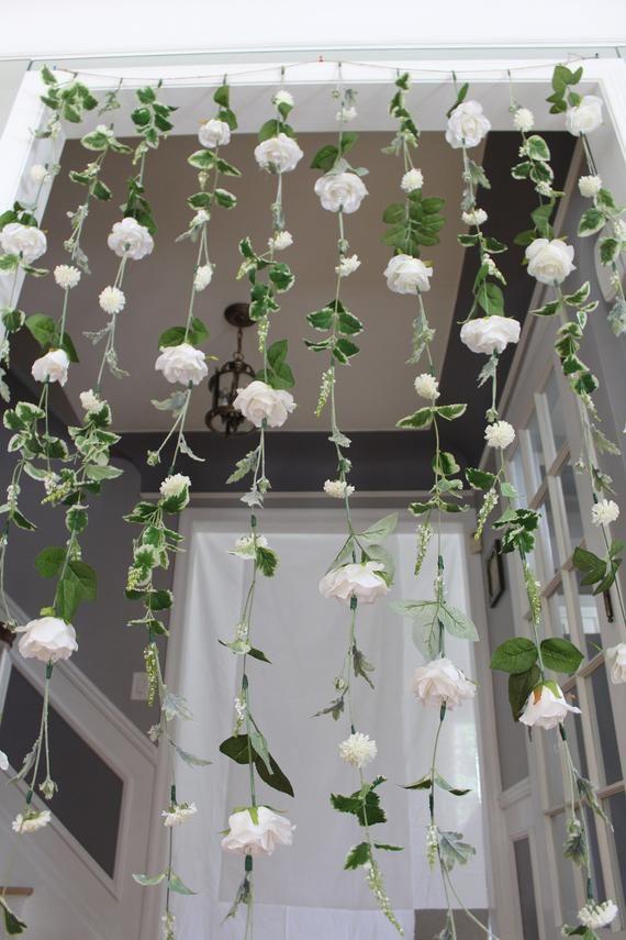 Photo of White Flower Garland Wedding Ceremony Backdrop, Hanging Flower Backdrop, Wedding Flower Garland,  White Wedding Garland, Wedding Flower Wall