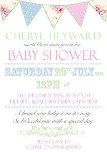 10 Personalised Baby Shower Invitations Vintage Bunting