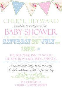 10 personalised baby shower invitations vintage bunting unisex twins 10 personalised baby shower invitations vintage bunting unisex twins surprise ebay filmwisefo