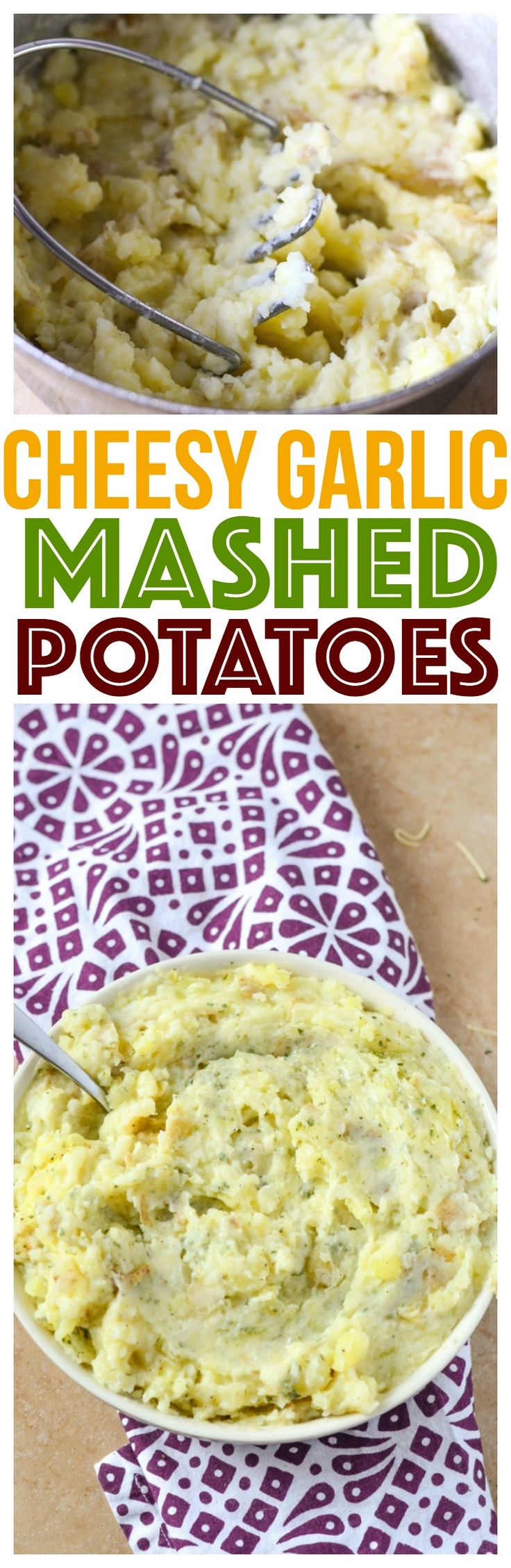 Kid Friendly Cheesy Garlic Mashed Potatoes are the perfect holiday side dish that everyone will enjoy. Vegetarian and delicious! via @CourtneysSweets