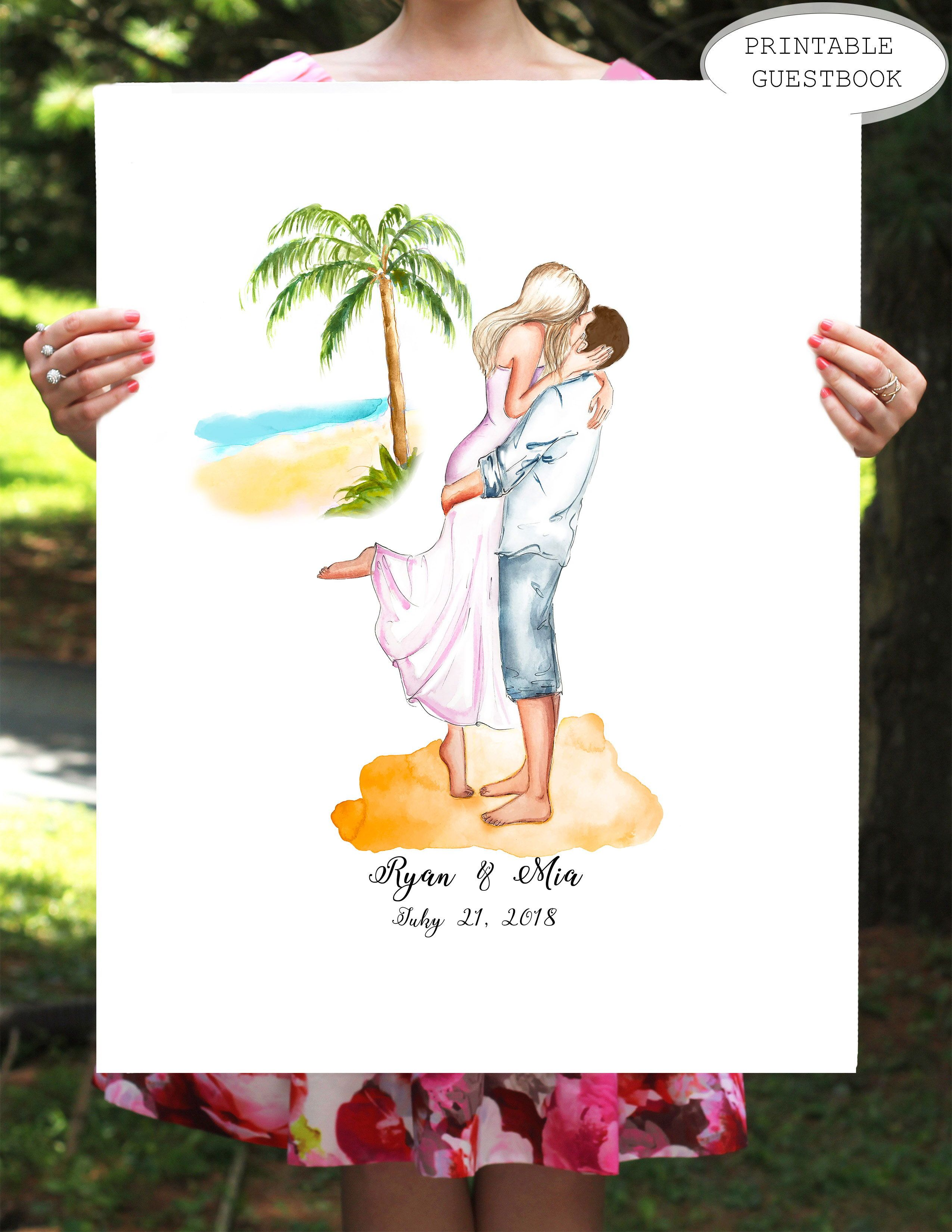 destination wedding guest book, beach wedding guestbook