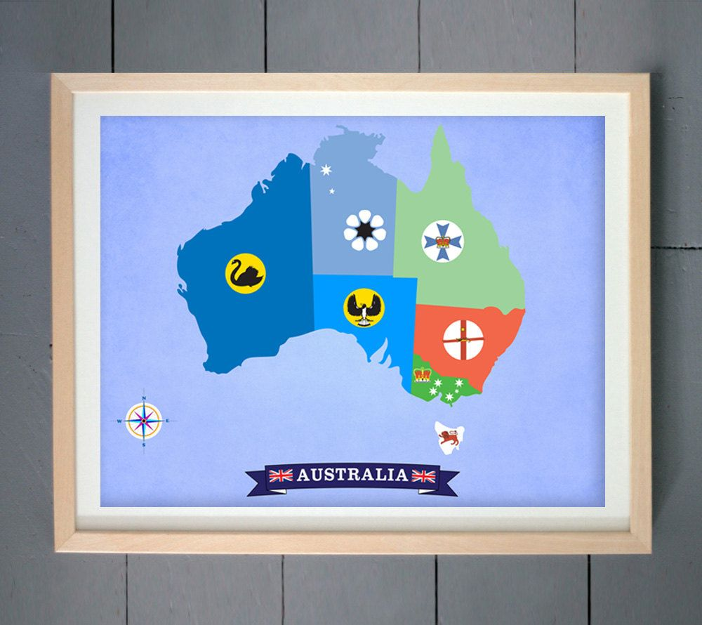 Australia Map Design Made With States And Territories Flag Symbols