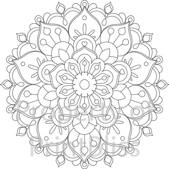 26 flower mandala printable coloring page by printbliss on etsy art my work pinterest. Black Bedroom Furniture Sets. Home Design Ideas