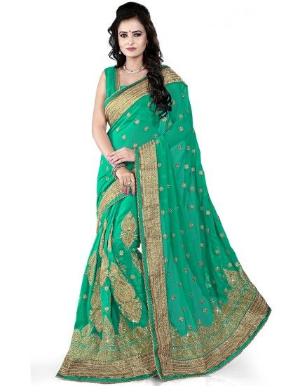 Exceptionally Made Embroidered Sea Green Catonic Georgette Designer Saree