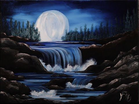 How To Paint A Beautiful Waterfall Acrylic Painting Tutorial Full Lesson For Beginners Step By Landscape Painting Lesson Acrylic Painting Canvas Night Painting