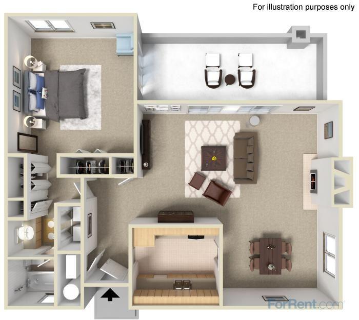 1 Bed Apartments For Rent: One Bedroom Garden Floorplan