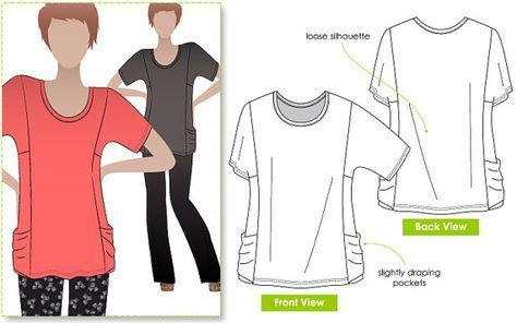 Ada Knit Top - Sizes 4, 6, 8 - Women\'s Top PDF Sewing Pattern by ...