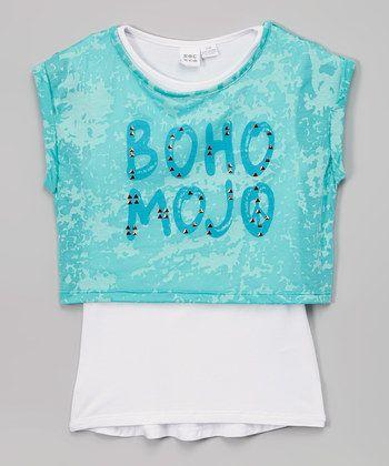 Turquoise 'Boho Mojo' Top