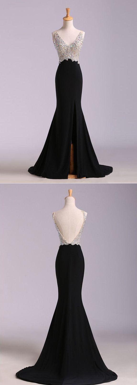Black prom dresses vneck short train rhinestone sexy long prom