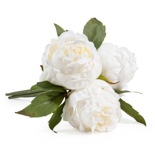 bouquet de fleurs artificielles 3 pivoines blanches 6.99€ | ma