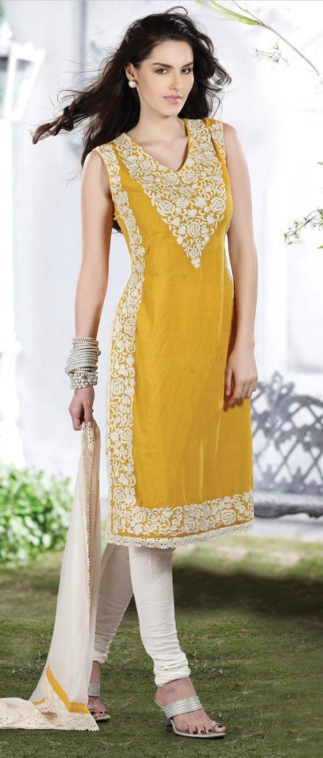 Mustard #Cotton Readymade #Churidar #Kameez