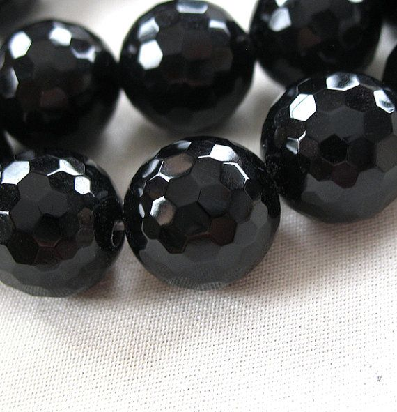 Micro Faceted Black Onyx Round Beads large 14mm by EleganciaBeads