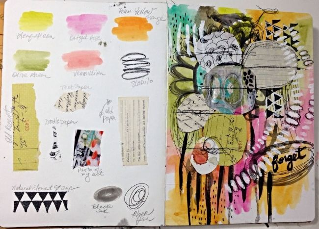 """I love this idea of listing the """"ingredients"""" on one side and the art on the other (Using Watercolors in Art Journaling by Roben-Marie Smith)"""