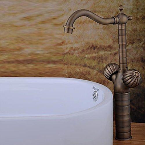Antique Brass Finish Bathroom Sink Faucet (Tall) - FaucetSuperDeal ...