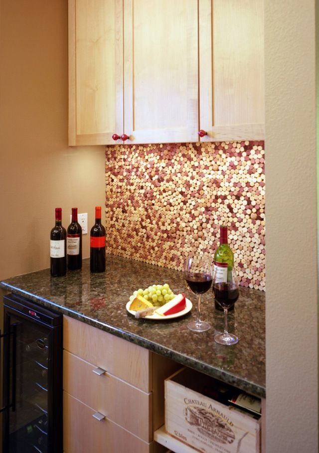 Wine cork backsplash House Ideas for our addition and more