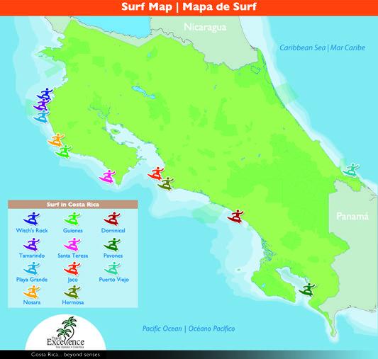 Costa Rica Best Surfing Spots Map Surf Spots Pinterest Costa rica