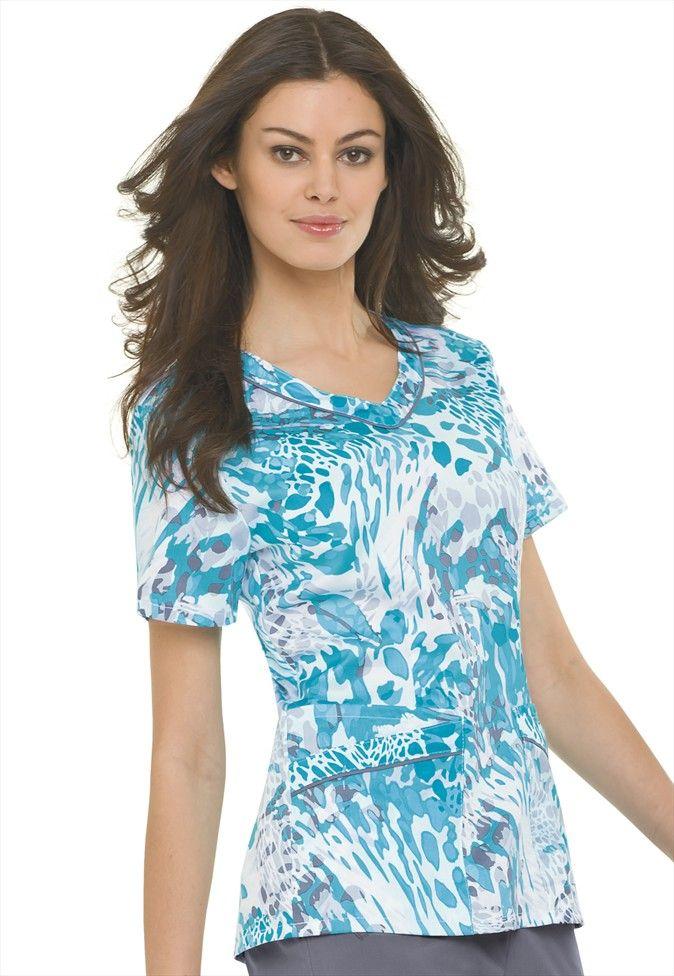 f5789f42190 Landau Chameleon Aqua Print V-neck scrub top. Super Cute && it has 4 lower  front pockets! Fashion + function #ScrubsAndBeyondSummer