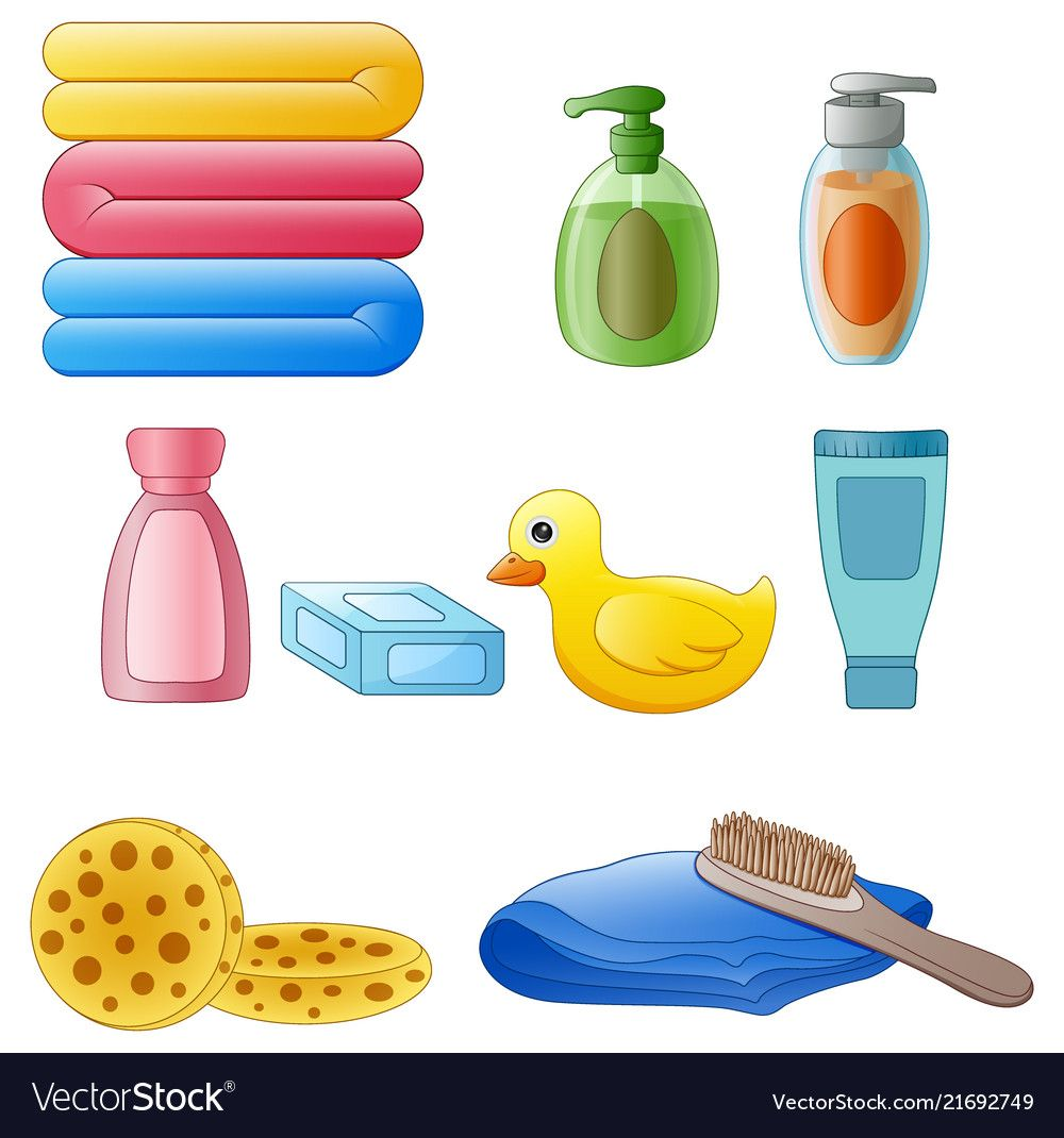 Illustration Of Set Of Toiletries In The Bathroom Isolated On
