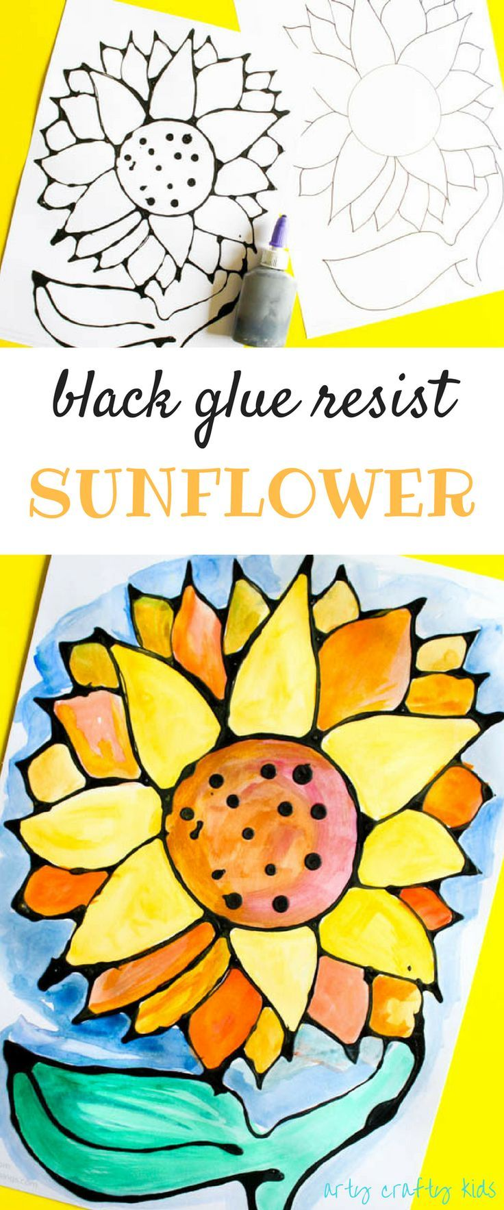 Black Glue Sunflower Art