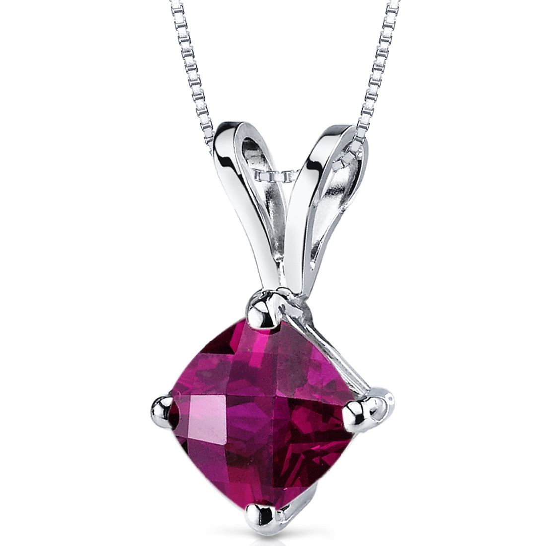 MSRP: $399.99  Our Price: $279.99  Savings: $120.00    Item Number: P9152  Availability: Usually Ships in 5 Business Days    PRODUCT DESCRIPTION:    Crafted in 14k White Gold, this classically designed pendant features a beautiful Cushion Cut Lab Created Ruby in a beautiful and solitaire design.    FEATURES:    Crafted in 14k White Gold  6.0 x 6.0mm Cushion Cut Lab Created Ruby   Classic Solitaire Design  18 Inch Box Chain    PRODUCT SPECIFICATIONS:    Metal Type: 14k White Gold  Primary…