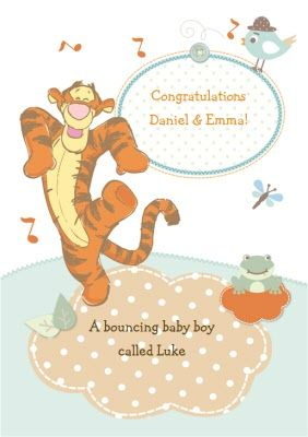 who better to welcome a bouncing baby boy than tigger boing rh pinterest com Baby Pooh Bear Drawings Baby Piglet Clip Art
