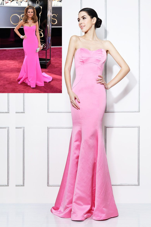 Maria Menounos Oscars Pink Satin Trumpet Strapless Red Carpet Dress ...