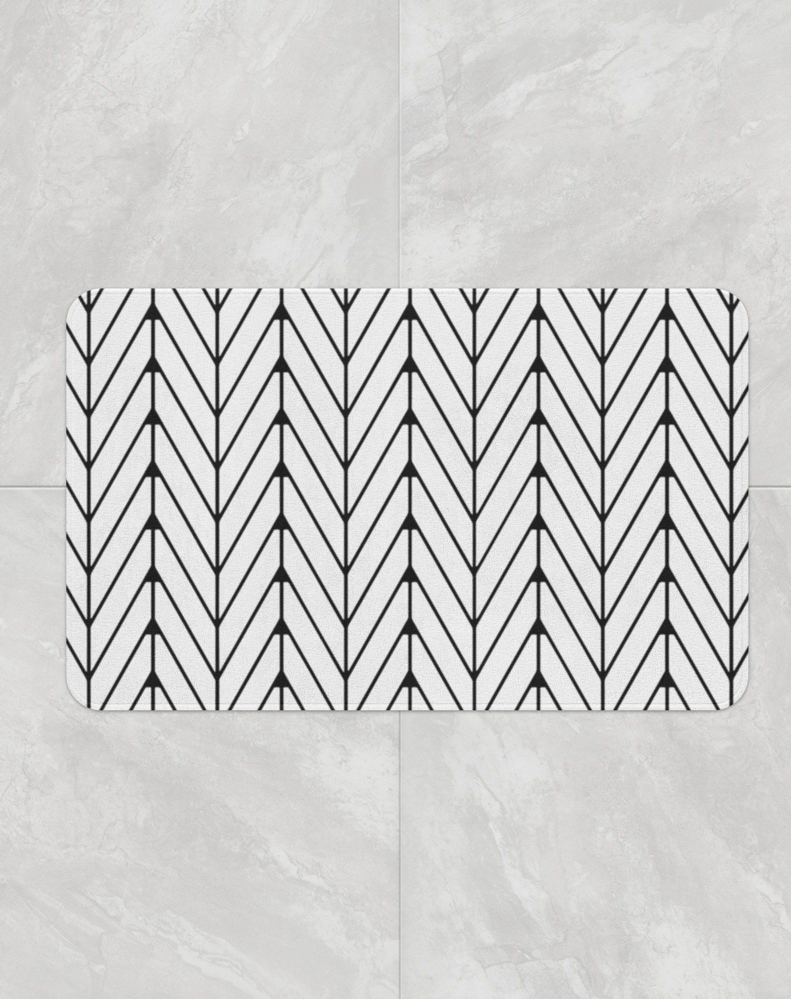 Black White Herringbone Bath Mat Soft Microfiber Bath Rug With